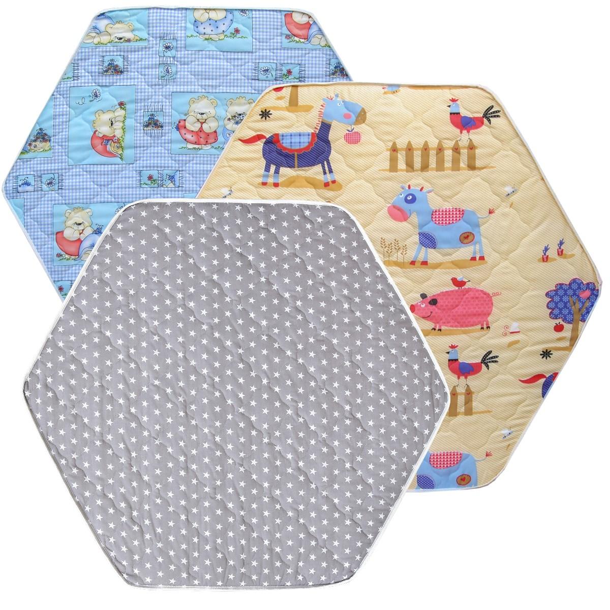 laufgittermatratze laufgittereinlage matratze bunt gesteppt f r 6 eck laufstall ebay. Black Bedroom Furniture Sets. Home Design Ideas
