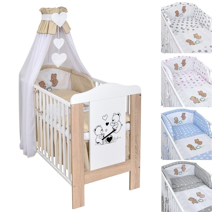 Babybett Kinderbett Gitterbett 120x60 Weiß Teddybär Bettwäsche Bettset komplett