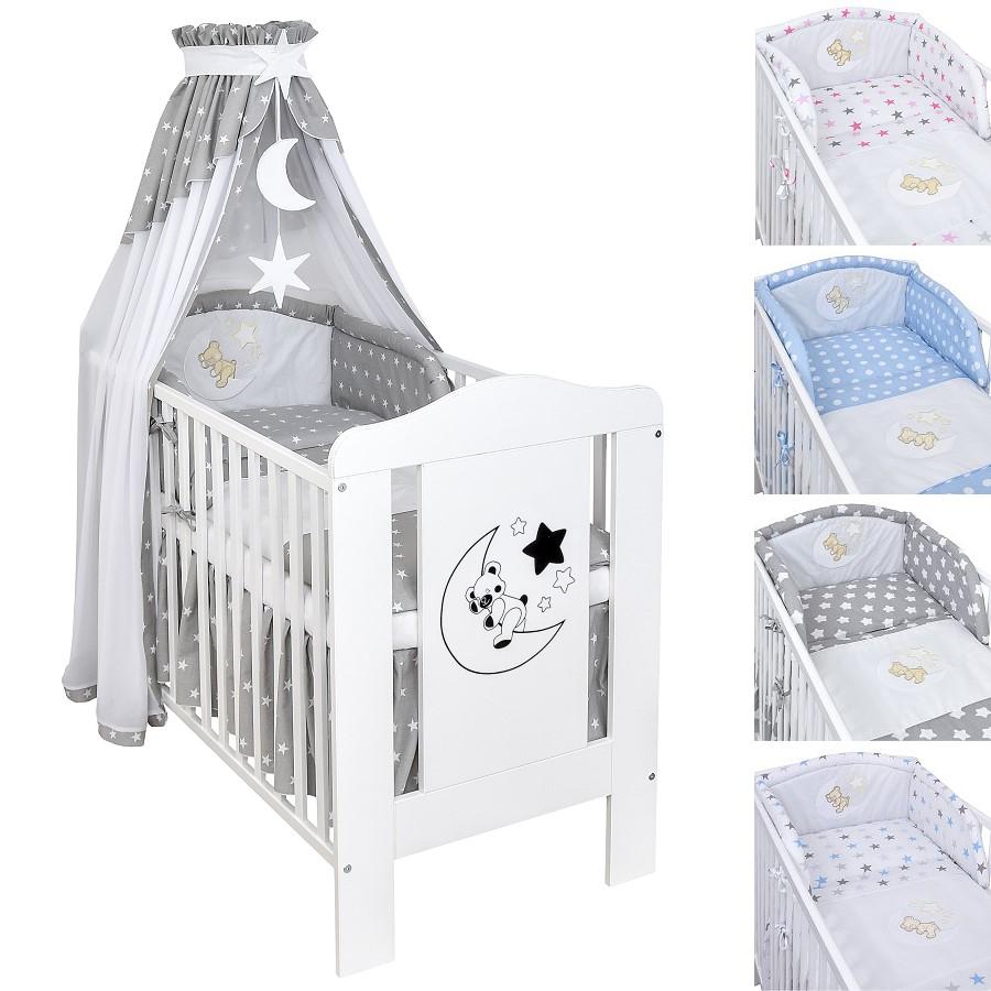 Babybett Kinderbett Gitterbett Weiß Mond Bär Bettset Stickerei ...