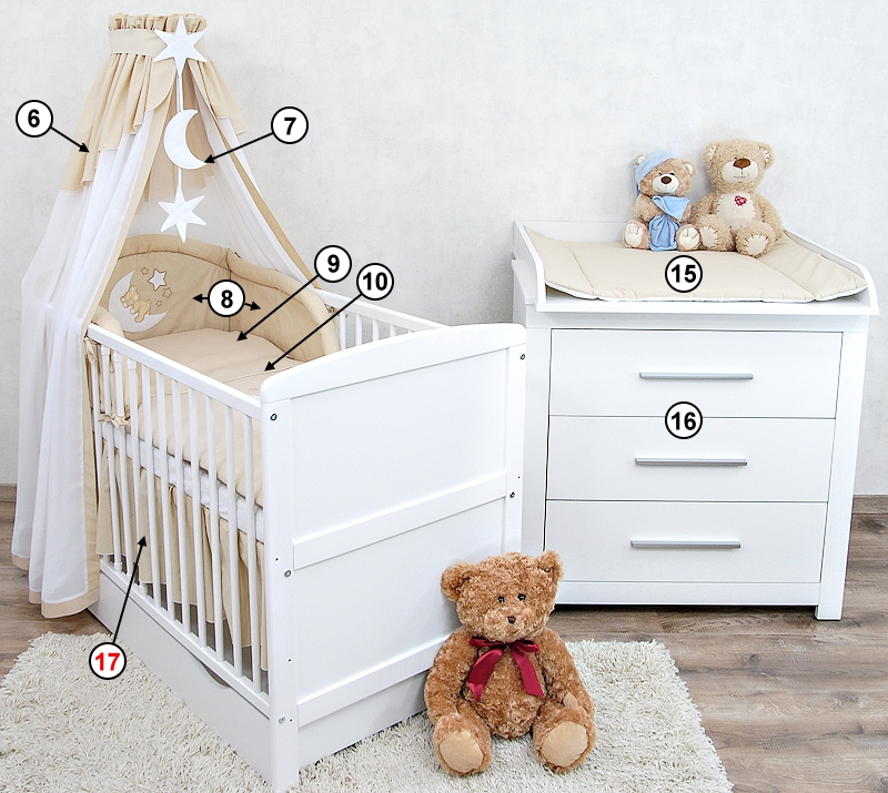babyzimmer babybett mit schublade wickelkommode wei bettw sche komplett set. Black Bedroom Furniture Sets. Home Design Ideas