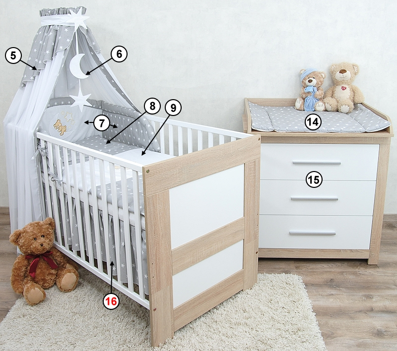 babyzimmer babybett kinderbett wickelkommode sonoma wei bettw sche komplett set ebay. Black Bedroom Furniture Sets. Home Design Ideas