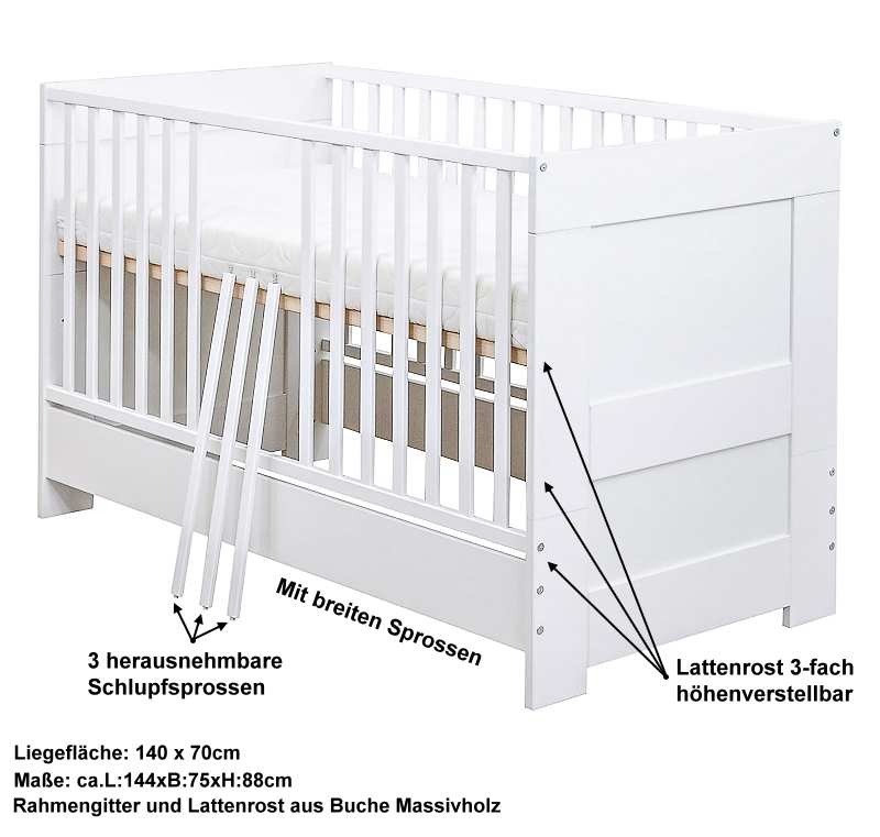 babyzimmer babybett kinderbett bett wickelkommode wei komplett set ebay. Black Bedroom Furniture Sets. Home Design Ideas