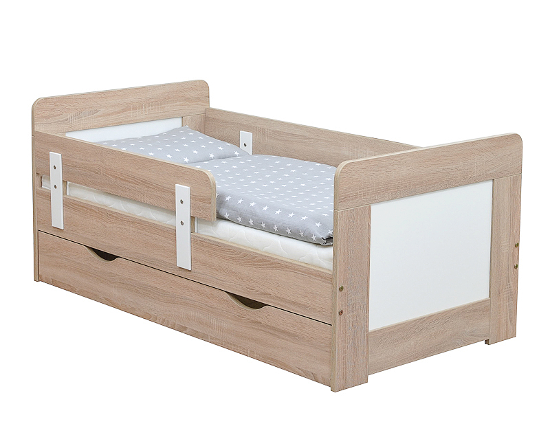kinderbett juniorbett sonoma eiche weiss 140x70 schublade bettkasten. Black Bedroom Furniture Sets. Home Design Ideas