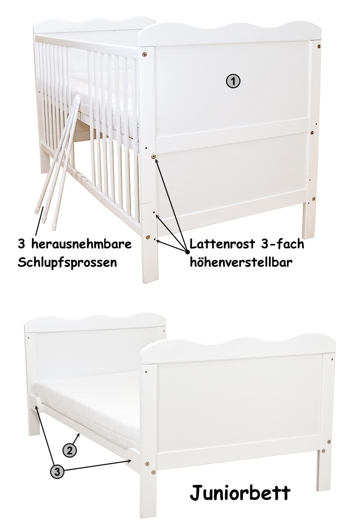 babybett kinderbett juniorbett wei 140x70 umbaubar neu ebay. Black Bedroom Furniture Sets. Home Design Ideas