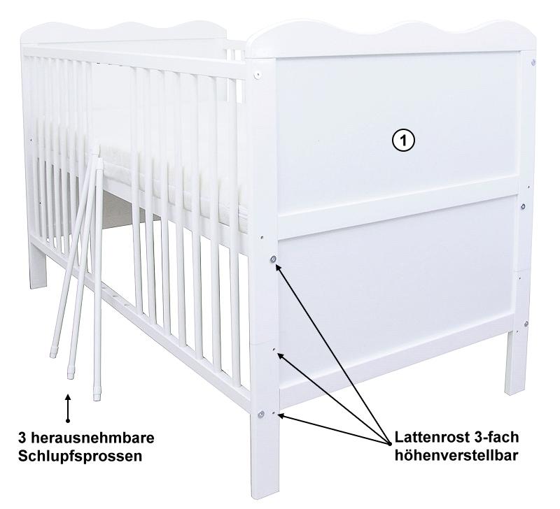 babybett gitterbett kinderbett juniorbett wei 140x70 mit matratze bremen. Black Bedroom Furniture Sets. Home Design Ideas