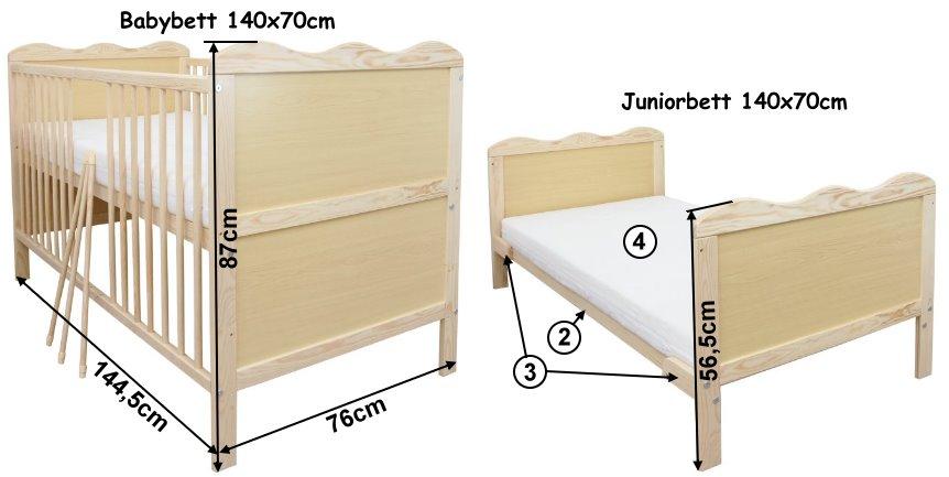 babybett kinderbett juniorbett 140x70 bettw sche 100x135. Black Bedroom Furniture Sets. Home Design Ideas