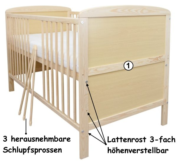 babybett kinderbett gitterbett juniorbett 2in1 140x70 mit matratze neu ebay. Black Bedroom Furniture Sets. Home Design Ideas