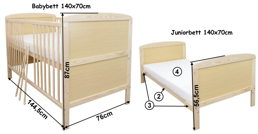 babybett kinderbett gitterbett juniorbett 2in1 140x70. Black Bedroom Furniture Sets. Home Design Ideas