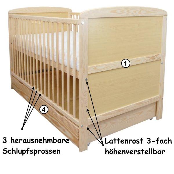 babybett kinderbett juniorbett 140x70 mit bettkasten schublade matratze neu ebay. Black Bedroom Furniture Sets. Home Design Ideas