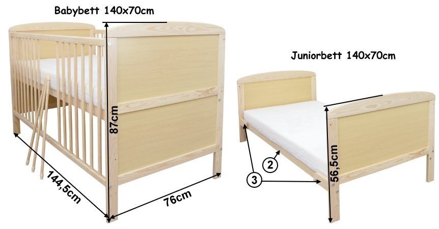 babybett kinderbett gitterbett kiefer 140x70 mit rollen matratze z llner ebay. Black Bedroom Furniture Sets. Home Design Ideas