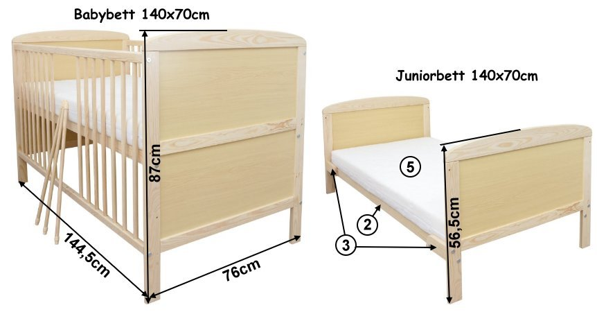 babybett kinderbett juniorbett 140x70 bettkasten schublade. Black Bedroom Furniture Sets. Home Design Ideas