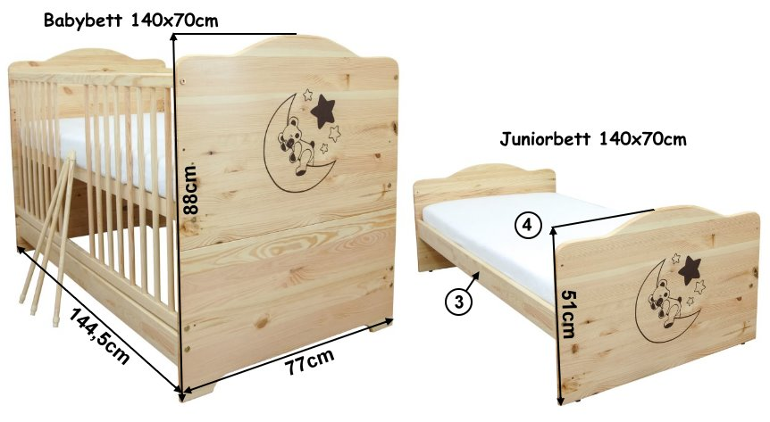 babybett kinderbett juniorbett mond teddy massivholz 140x70cm mit matratze ebay. Black Bedroom Furniture Sets. Home Design Ideas
