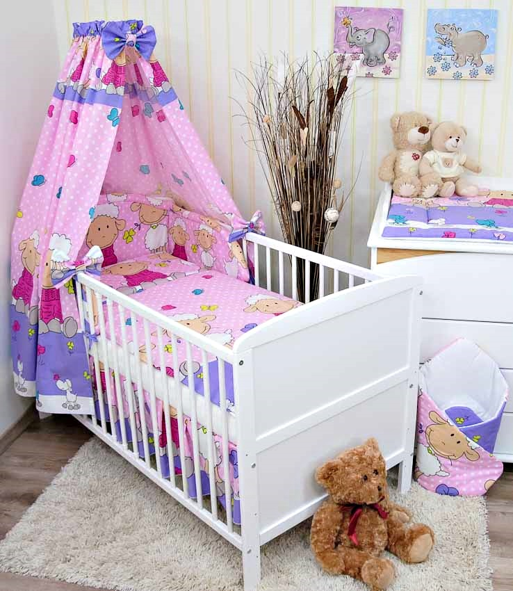 babybett kinderbett juniorbett wei 140x70 bettw sche bettset komplett 22 tlg ebay. Black Bedroom Furniture Sets. Home Design Ideas