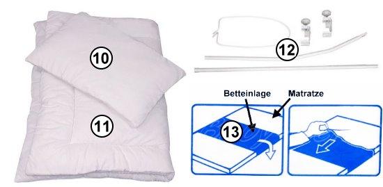 babybett kinderbett juniorbett mond wei 140x70 bettw sche bettset moskitonetz ebay. Black Bedroom Furniture Sets. Home Design Ideas