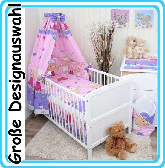 babybett kinderbett juniorbett wei 140x70 bettset kissen decke 13 tlg neu ebay. Black Bedroom Furniture Sets. Home Design Ideas