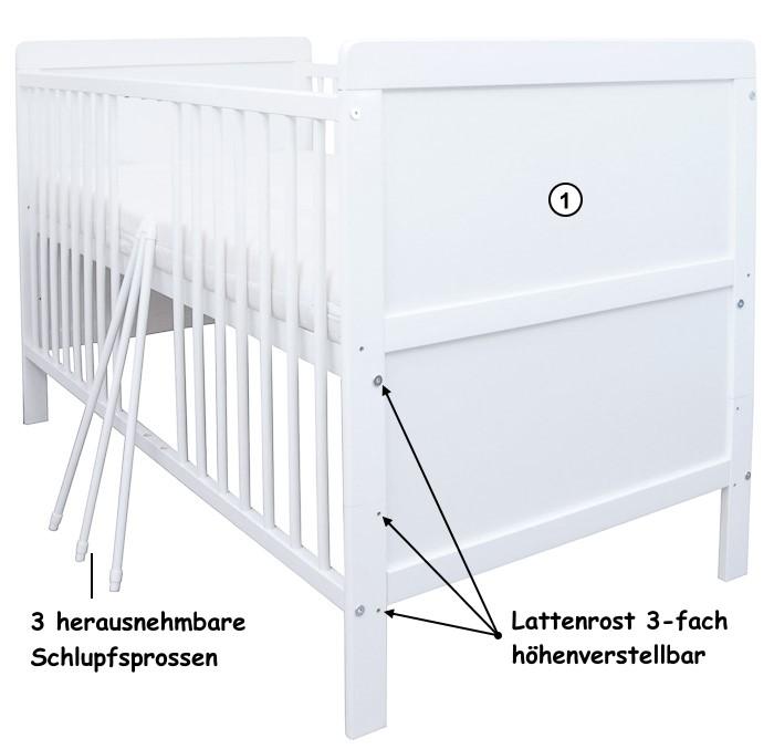 babybett kinderbett juniorbett umbaubar 140x70 wei neu ebay. Black Bedroom Furniture Sets. Home Design Ideas
