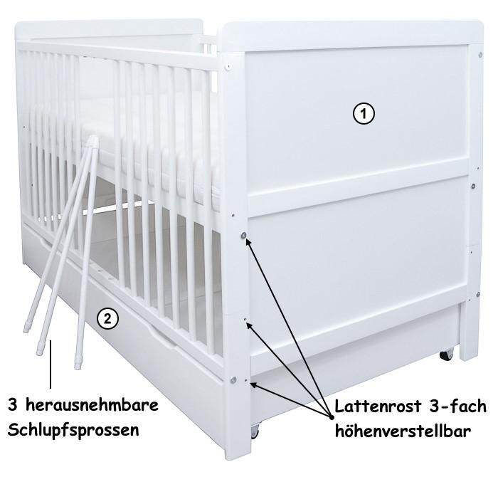 Kinderbett weiß mit schubladen  Babybett Kinderbett Juniorbett weiß 70x140 mit Bettkasten ...