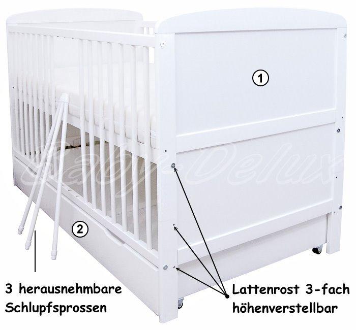 babybett kinderbett juniorbett wei 140x70 mit bettkasten schublade neu ebay. Black Bedroom Furniture Sets. Home Design Ideas