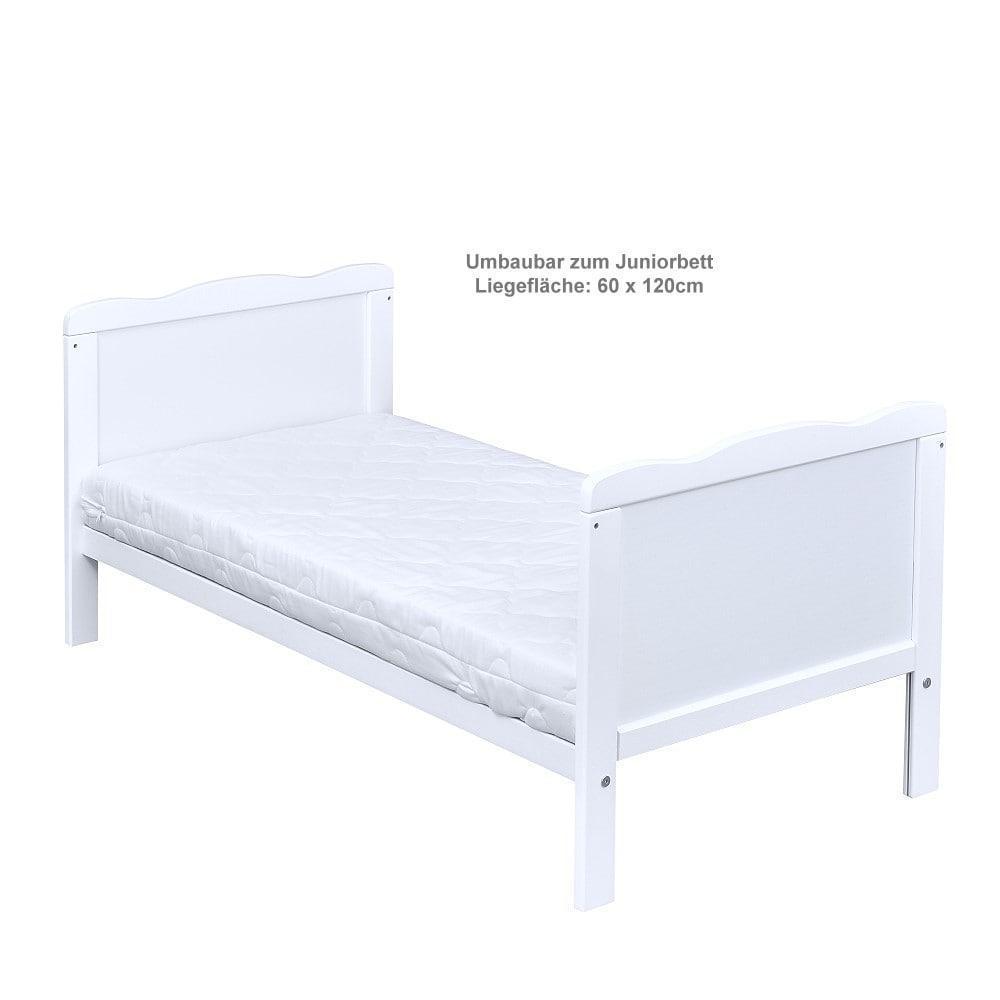 Babybett Kinderbett 2in1 Juniorbett 120x60 Weiß Bettset Stickerei komplett