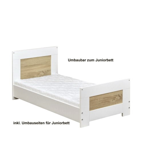 babybett kinderbett juniorbett wei sonoma eiche 140x70cm buchen holz ebay. Black Bedroom Furniture Sets. Home Design Ideas