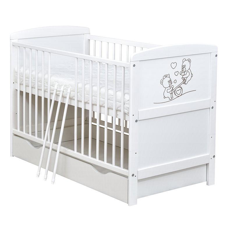 babybett kinderbett wei 140x70 teddyb r schublade moskitonetz bettset komplett ebay. Black Bedroom Furniture Sets. Home Design Ideas