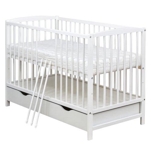 babybett gitterbett kinderbett schublade 120x60 wei. Black Bedroom Furniture Sets. Home Design Ideas