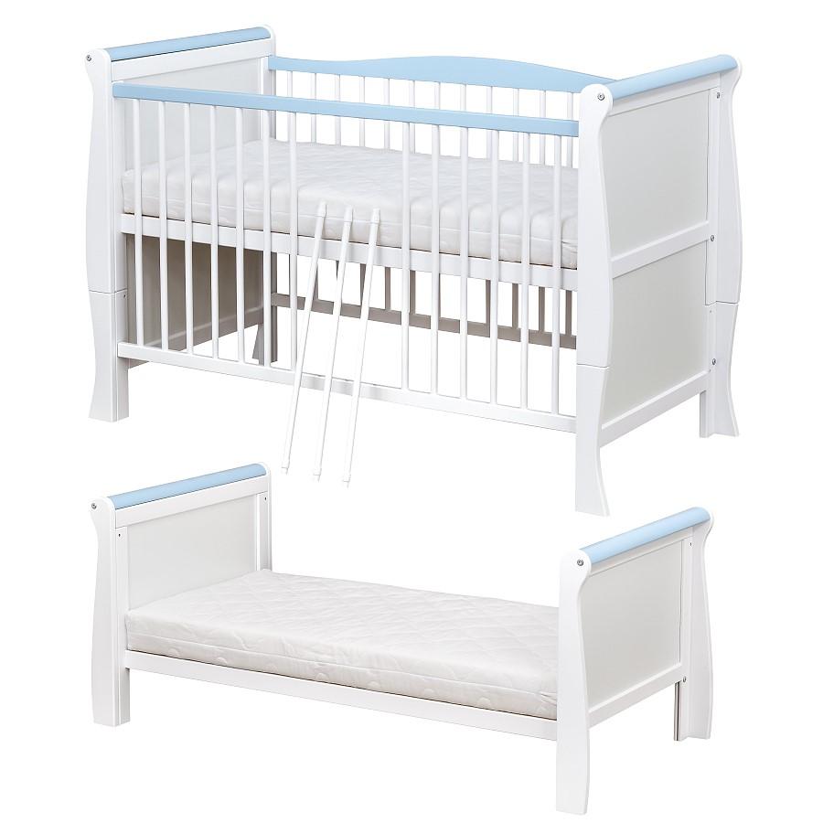 babybett kinderbett 70x140 umbaubar schublade wei massivholz matratze ebay. Black Bedroom Furniture Sets. Home Design Ideas