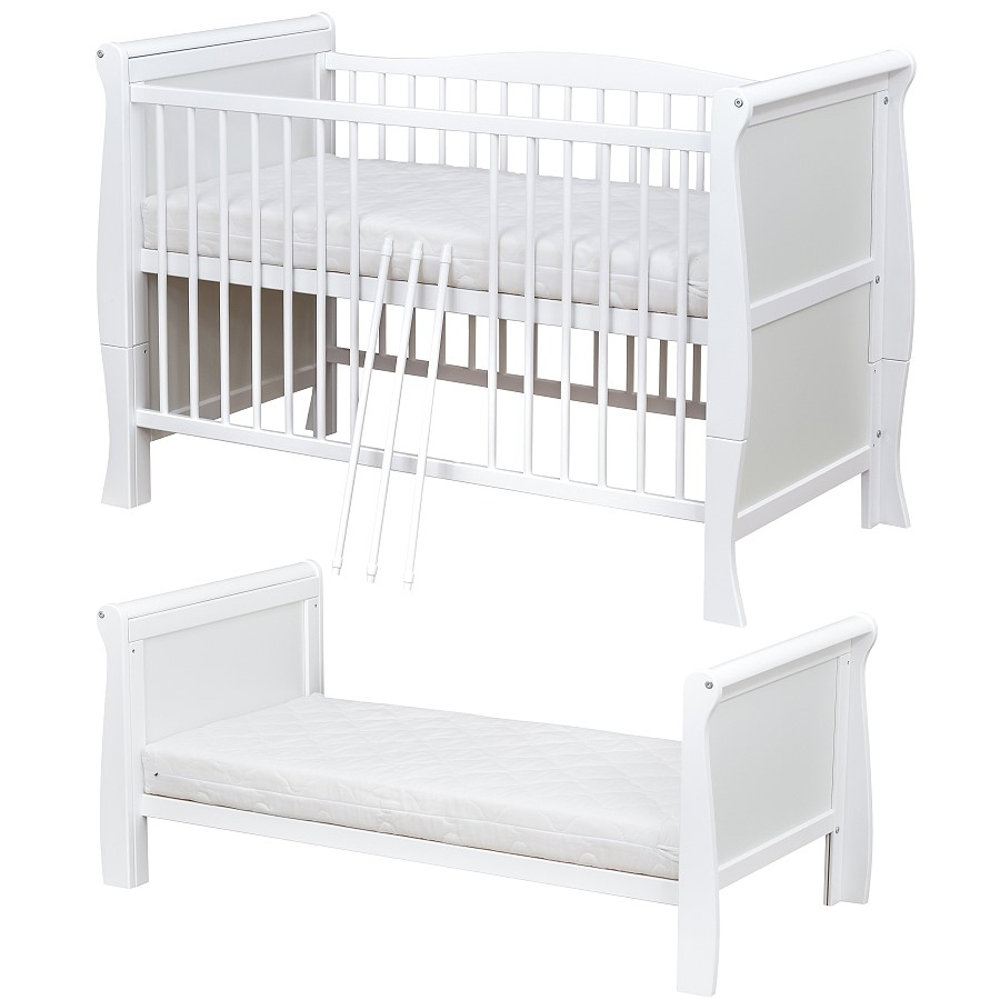 babybett kinderbett 70x140 umbaubar schublade wei massivholz matratze ebay. Black Bedroom Furniture Sets. Home Design Ideas