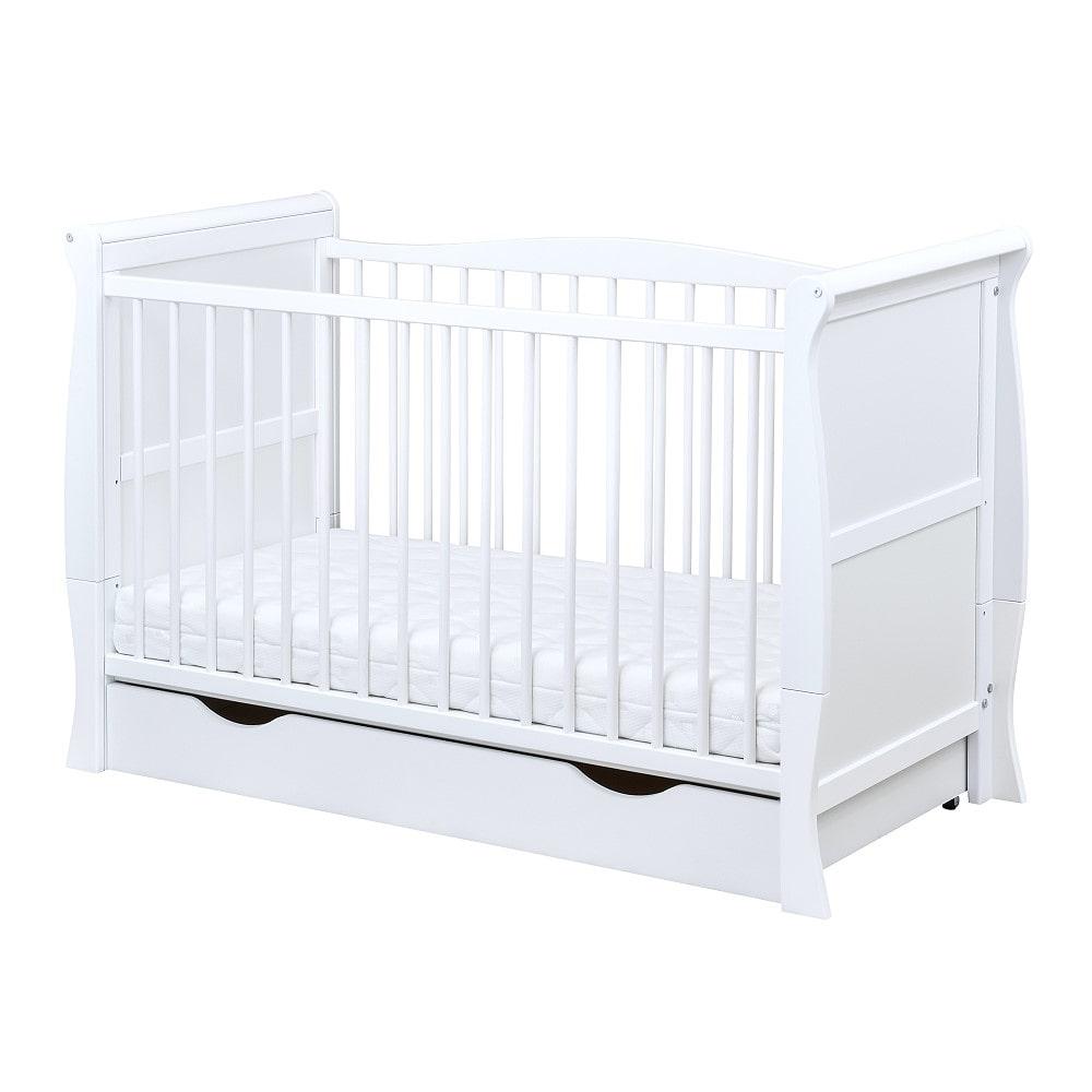 Baby Delux Babybett Kinderbett Juniorbett Natalie 140x70 Wei/ß umbaubar mit Schublade und Matratze