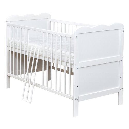 babybett kinderbett max 120x60cm wei umbaubar matratze ebay. Black Bedroom Furniture Sets. Home Design Ideas