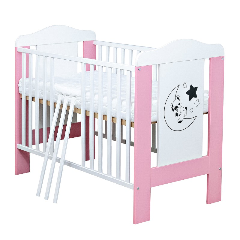babybett kinderbett gitterbett mond teddy wei rosa 60x120 matratze ebay. Black Bedroom Furniture Sets. Home Design Ideas