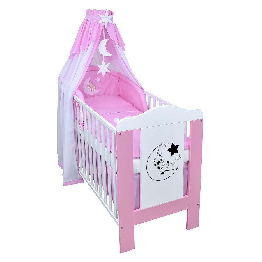 babybett kinderbett mond sterne wei rosa bettw sche bettset komplett ebay. Black Bedroom Furniture Sets. Home Design Ideas