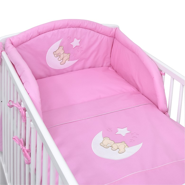 babybett kinderbett mond sterne wei rosa bettw sche bettset komplett ebay. Black Bedroom Furniture Sets. Home Design Ideas