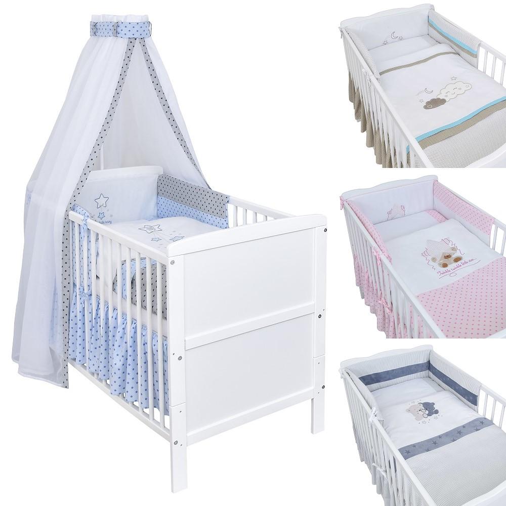 Babybett Kinderbett Juniorbett Weiß 140x70 Prinz Bettset komplett