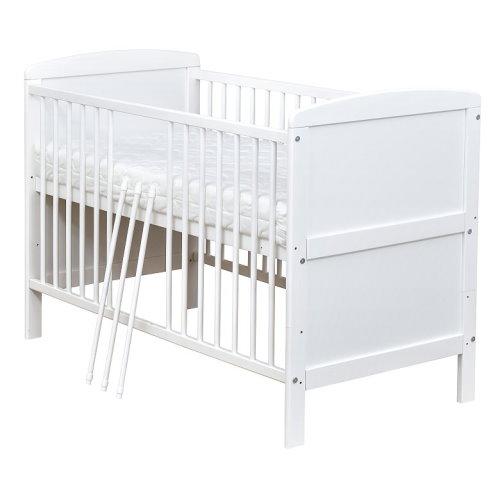 Kinderbett weiß  Babybett Kinderbett Gitterbett Juniorbett Weiß umbaubar 140x70 NEU ...