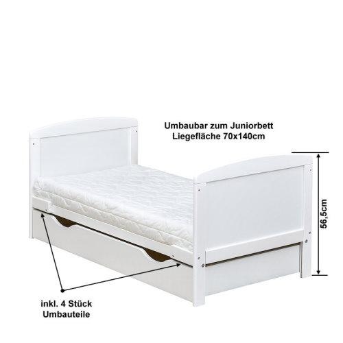 Kinderbett weiß mit schubladen  Babybett Kinderbett Juniorbett weiß 140x70 mit Bettkasten ...