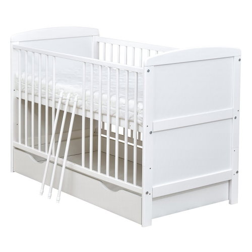 Kinderbett weiß mit schubladen  Babybett Kinderbett Juniorbett weiß 140x70 mit Bettkasten Schublade ...