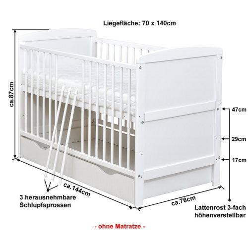 Babybett Kinderbett Juniorbett Weiss 140x70 Mit Bettkasten Schublade