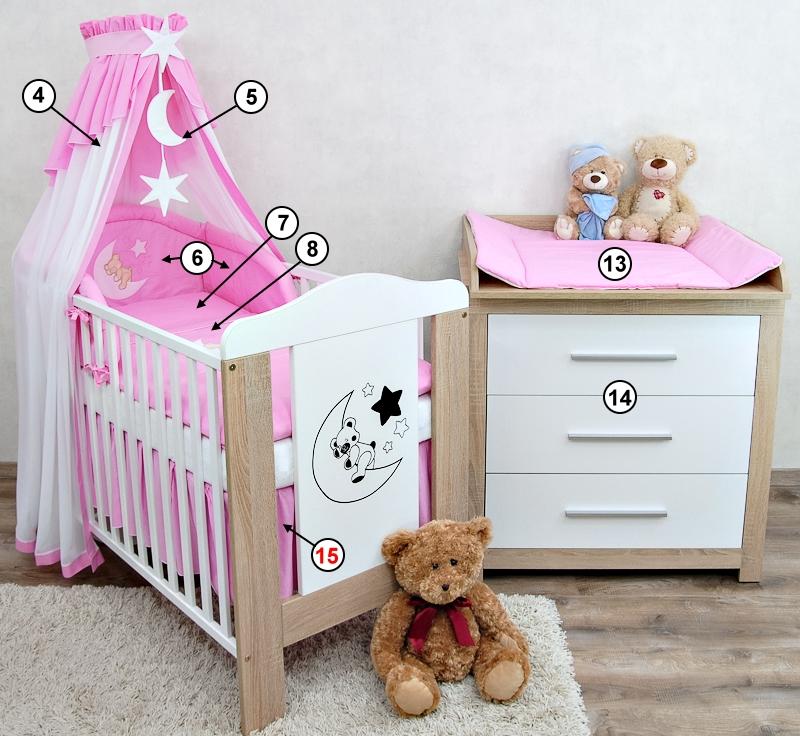 babyzimmer babybett kinderbett mond teddy wickelkommode. Black Bedroom Furniture Sets. Home Design Ideas