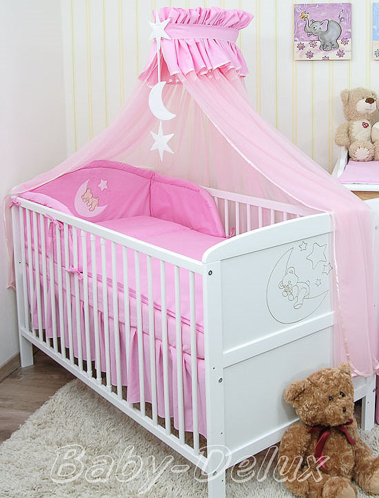 baby bettw sche moskitonetz himmel 2in1 bettset mit applikation 100x135cm ebay. Black Bedroom Furniture Sets. Home Design Ideas