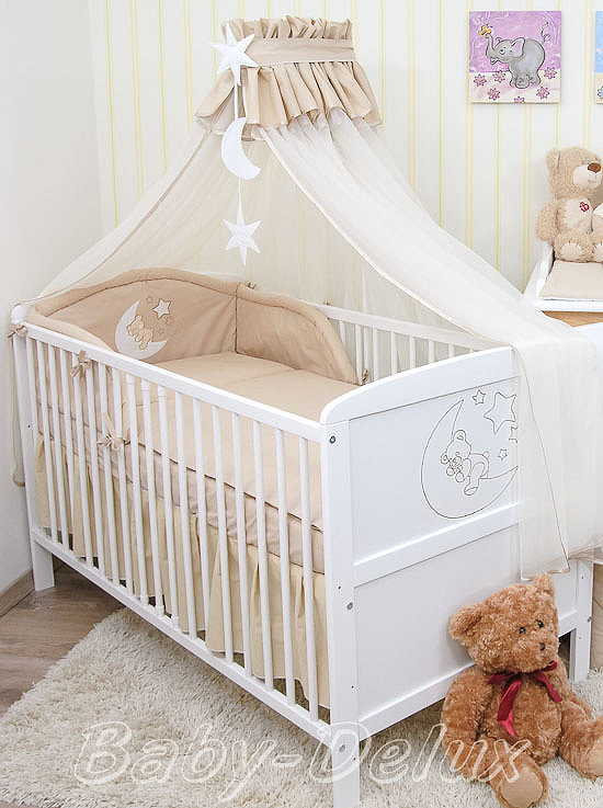 babybett kinderbett juniorbett wei mond 140x70 bettw sche bettset moskitonetz. Black Bedroom Furniture Sets. Home Design Ideas