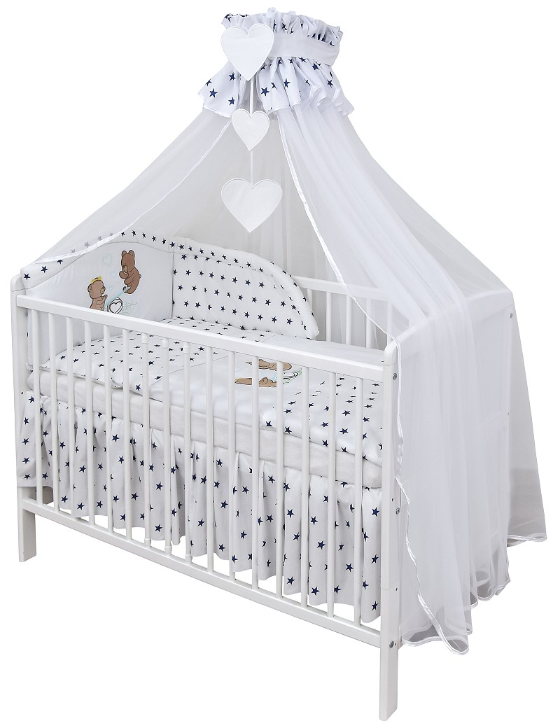 babybett kinderbett wei 140x70 teddyb r schublade moskitonetz bettset komplett ebay. Black Bedroom Furniture Sets. Home Design Ideas
