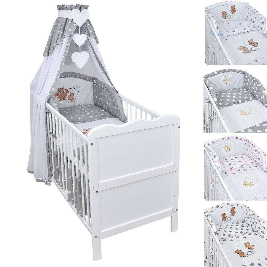 Babybett Kinderbett Juniorbett 120x60 Weiß Bettset Applikation