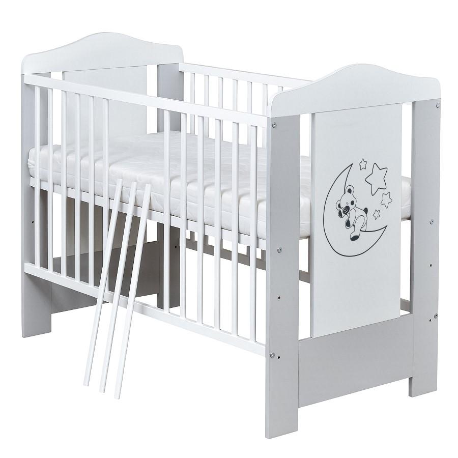 Weiß Matratze Babybett Kinderbett Gitterbett Mond Teddy 120x60 Grau