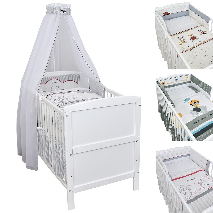 babybett kinderbett juniorbett weiss 140x70 bettset. Black Bedroom Furniture Sets. Home Design Ideas