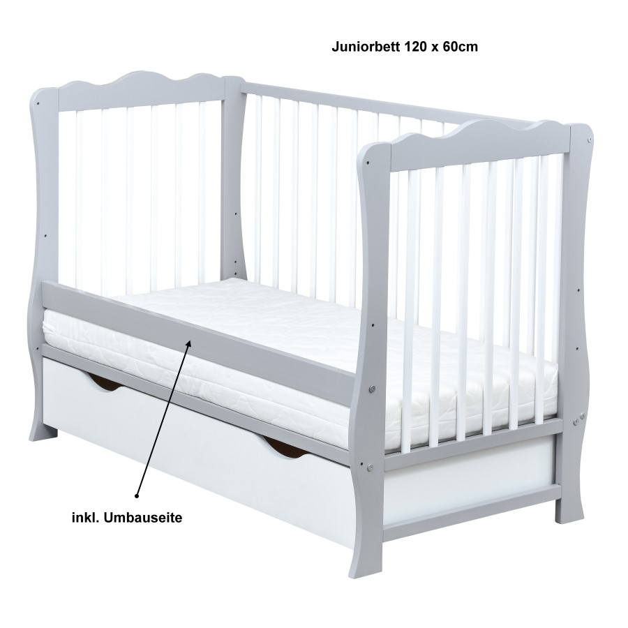 babybett kinderbett grau wei 120x60 schublade bettw sche bettset komplett ebay. Black Bedroom Furniture Sets. Home Design Ideas