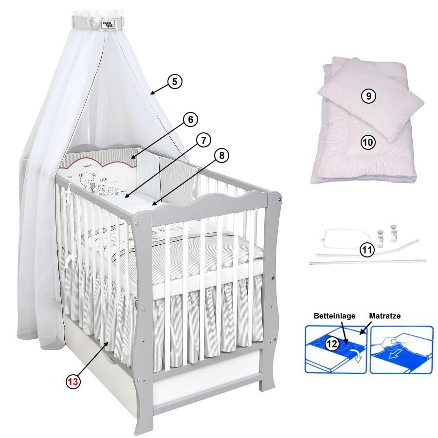 Babybett Kinderbett Schublade Weiß 120x60 Bettset Applikation komplett