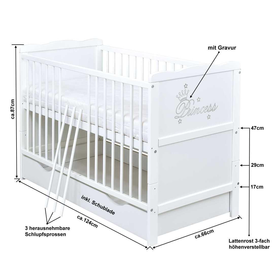 Babybett Kinderbett 2in1 Juniorbett Princess 120x60 Weiß Schublade