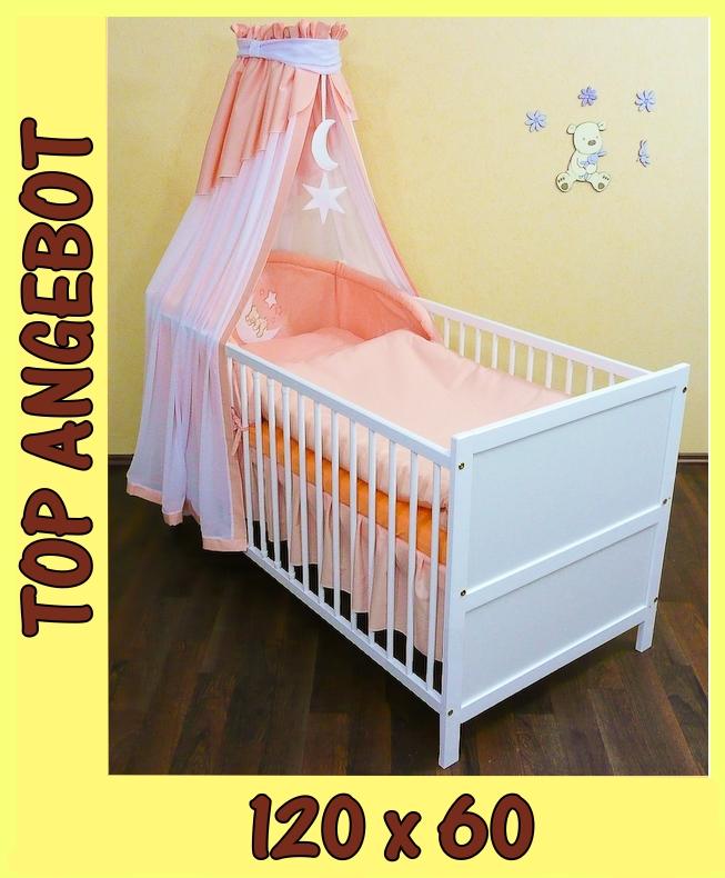 babybett kinderbett oli wei 120x60 set m applikation ebay. Black Bedroom Furniture Sets. Home Design Ideas