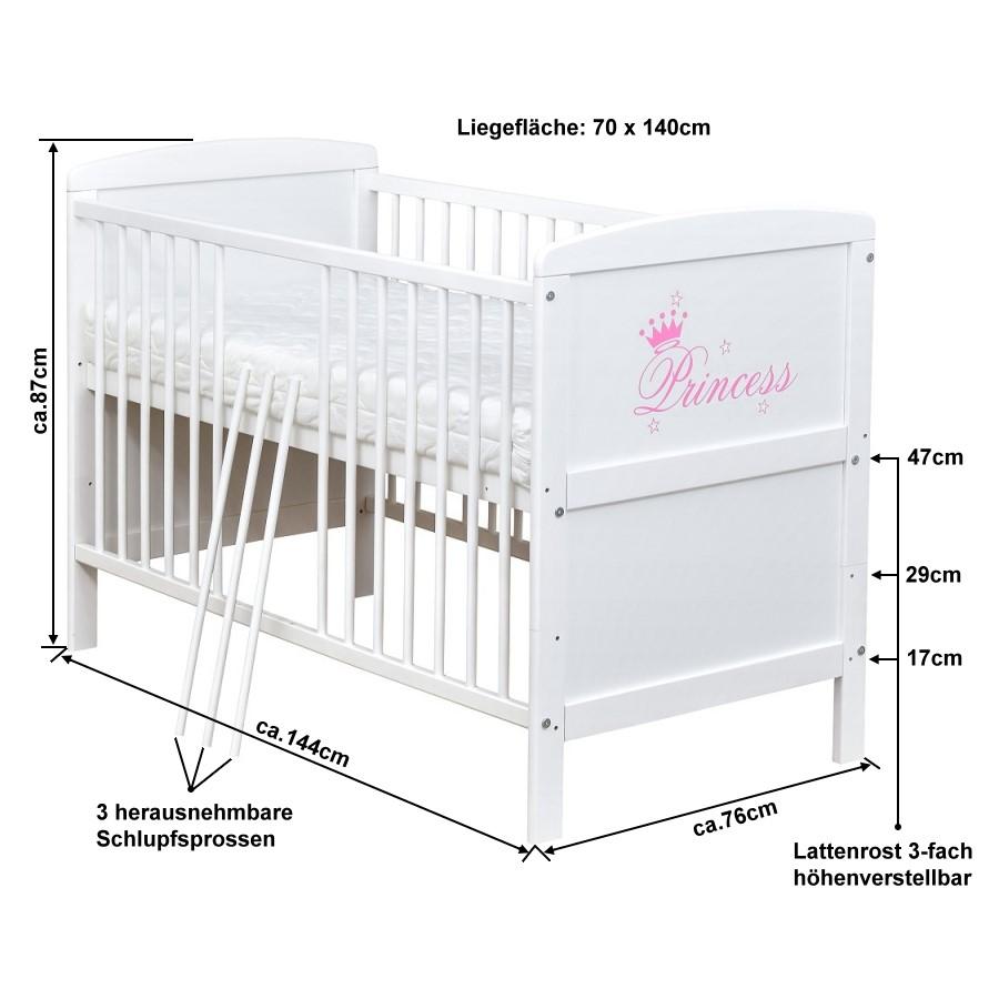 Babybett Kinderbett Princess Motiv 140x70 Weiß umbaubar mit Matratze